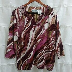 New ALFRED DUNNER Long Sleeve Print Blouse PL
